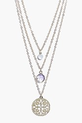 Boohoo Ivy Stone And Filigree Round Layered Necklace Gold
