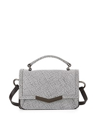 Time's Arrow Micro Helene Grid Leather Shoulder Bag White