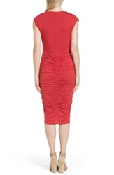 Halogen Ruched Detail Sheath Dress Red Lipstick