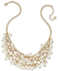 Charter Club Gold Tone Imitation Pearl Cluster Statement Necklace Only At Macy's