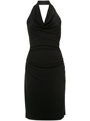 Nicole Miller Cowl Neck Halter Dress Women Polyester Spandex Elastane Acetate Xs Black