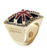 Alexander Mcqueen Britannia Ring Female Navy Red