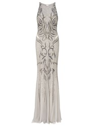 Ariella Areida Beaded Long Dress Silver