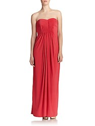 Laundry By Shelli Segal Strapless Jersey Pleated Gown Coral Rage