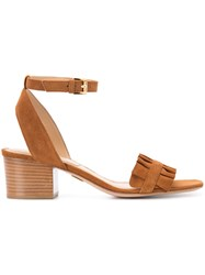 Michael Kors Pleated Trim Sandals Women Suede 36 Brown