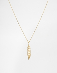 Orelia Cut Out Feather Long Necklace Palegold