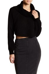 Abound Cropped Cowl Neck Sweater Black