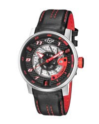 Gv2 Men's Motorcycle Sport Automatic Watch W Leather Strap Black
