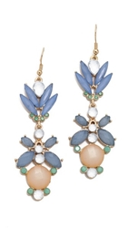 Adia Kibur Floral Crystal Drop Earrings Blue