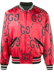 Gucci Ghost Print Bomber Jacket Red