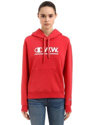 Champion Wood Wood Logo Hooded Cotton Sweatshirt Red