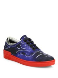 Moschino Trompe L'oeil Nubuck Low Top Sneakers Blue