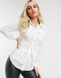 Lipsy Utility Shirt With Gold Detail In Ivory White