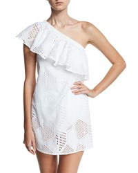 Milly Cotton Eyelet One Shoulder Coverup Dress White
