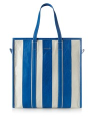 Balenciaga Bazar Medium Leather Tote Blue Stripe