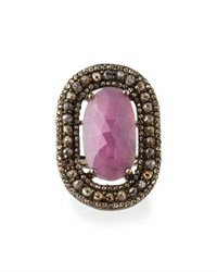 Bavna Pink Sapphire And Champagne Diamond Cocktail Ring Size 7