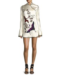 Attico Embroidered Satin Mandarin Collar Dress White