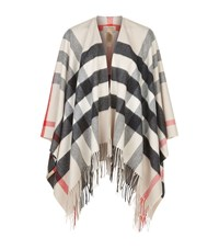 Burberry Shoes And Accessories House Check Wool Cashmere Cape Female Stone