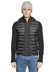 Moncler Wool Knit And Nylon Hooded Vest Navy