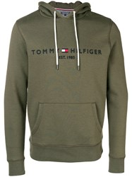 Tommy Hilfiger Logo Embroidered Hoodie Green