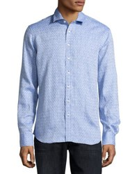 Neiman Marcus Linen Diamond Print Shirt Sailor