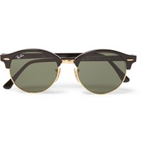 Ray Ban Clubmaster Round Frame Acetate And Metal Sunglasses Black