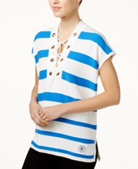 Tommy Hilfiger Cotton Striped Lace Up Tunic Only At Macy's Ivory Pacific