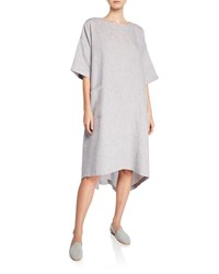 Eskandar Melange Linen High Low T Shirt Dress Purple