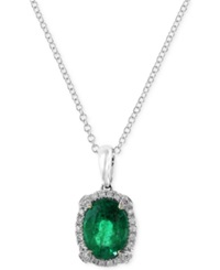 Effy Collection Brasilica By Effy Emerald 1 1 8 Ct. T.W. And Diamond 1 10 Ct. T.W. Pendant Necklace In 14K White Gold Green