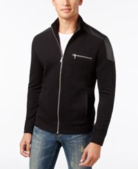 Inc International Concepts Men's Ribbed Zip Front Jacket With Faux Leather Trim Only At Macy's Deep Black