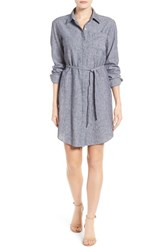 Vince Camuto Women's Two By Belted Ticking Stripe Linen And Cotton Shirtdress
