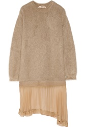 N 21 Mohair Blend And Silk Chiffon Dress Nude