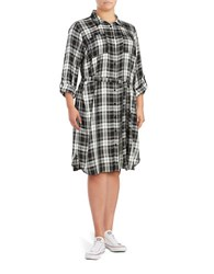 Vince Camuto Plus Plaid Button Front Tunic Top Grey