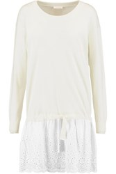 See By Chloe Broderie Anglaise Paneled Cotton Sweater Dress White