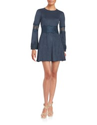 Design Lab Lord And Taylor Faux Suede Long Sleeve Fit Flare Dress Navy