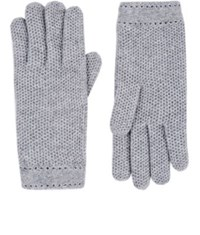 Barneys New York Women's Woven Cashmere Gloves Grey
