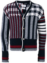 Thom Browne 4 Bar Fun Mix Check Intarsia Cardigan Blue