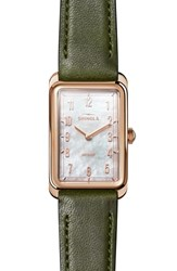 Shinola The Muldowney Rectangular Leather Strap Watch 24Mm X 32Mm Spruce White Mop Rose Gold