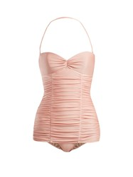 Adriana Degreas X Charlotte Olympia Ruched Halterneck Swimsuit Pink