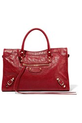 Balenciaga Classic City Textured Leather Tote Claret