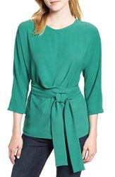 Gibson Dolman Sleeve Tie Back Stretch Crepe Blouse Emerald Green