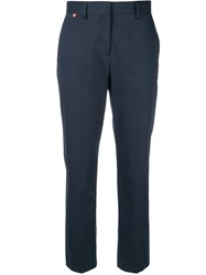 Paul Smith Cropped High Waisted Trousers Blue