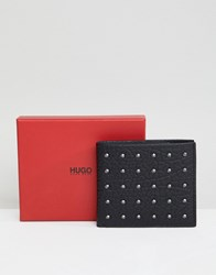 Hugo Victorian Studded Leather Wallet In Black