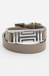 Tory Burch Women's For Fitbit Leather Wrap Bracelet French Grey Silver French Grey Tory Silver