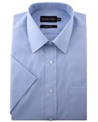 Double Two Men's King Size Classic Easy Care Short Sleeved Shirt Light Blue