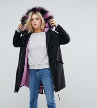 Noisy May Petite Parka With Faux Fur Hood Black