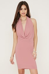 Forever 21 Cowl Neck Halter Bodycon Dress Dusty Pink