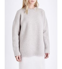 Allsaints Limited Naomi Chunky Knit Wool Blend Jumper Pebble Grey