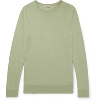 John Smedley Slim Fit Sea Island Cotton And Cashmere Blend Sweater Green