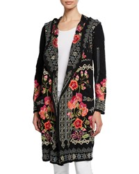Johnny Was Plus Size Sysen Hooded Duster Cardigan W Floral Embroidery Black